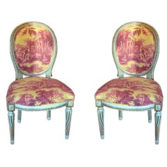 Pair of Louis XVI Style Sister Parrish Painted Chairs, Circa 1950s