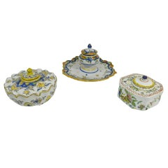 Group of Three French Faience Ink Wells, 19th Century