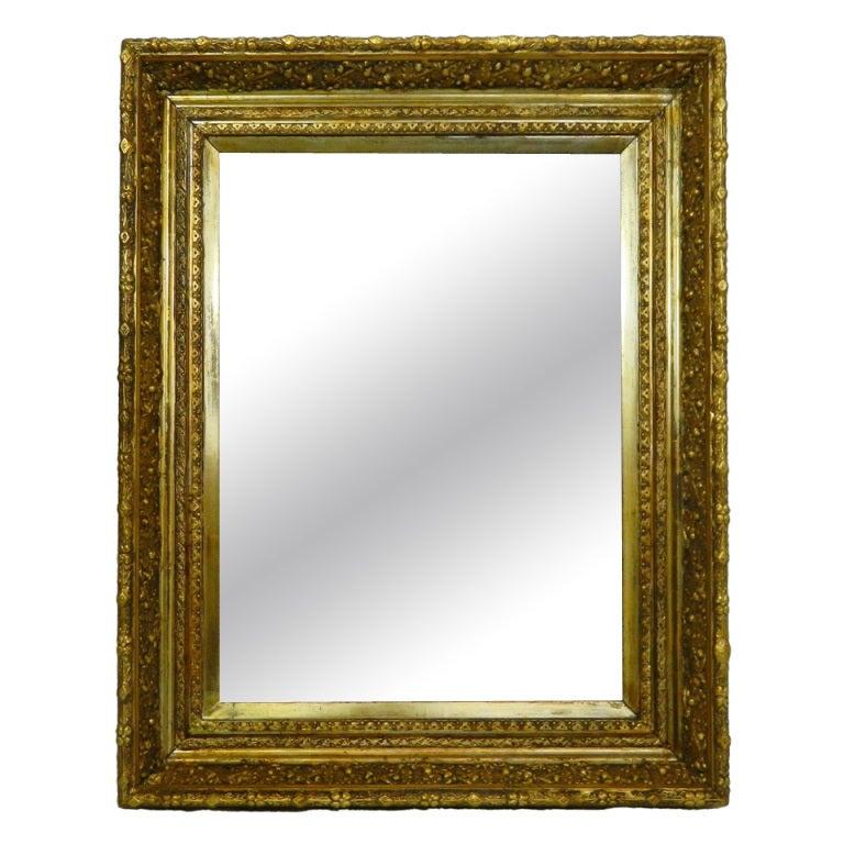 English Gold Leaf and Water Gilding Trim Mirror, Circa 1850-1880