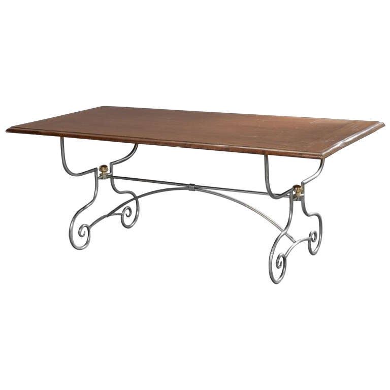 Spanish-Style Mahogany and Silvered Metal Dining Table, Early 20th Century