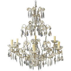 Early 20th Century Italian Silvered Metal and Crystal Six Light Chandelier