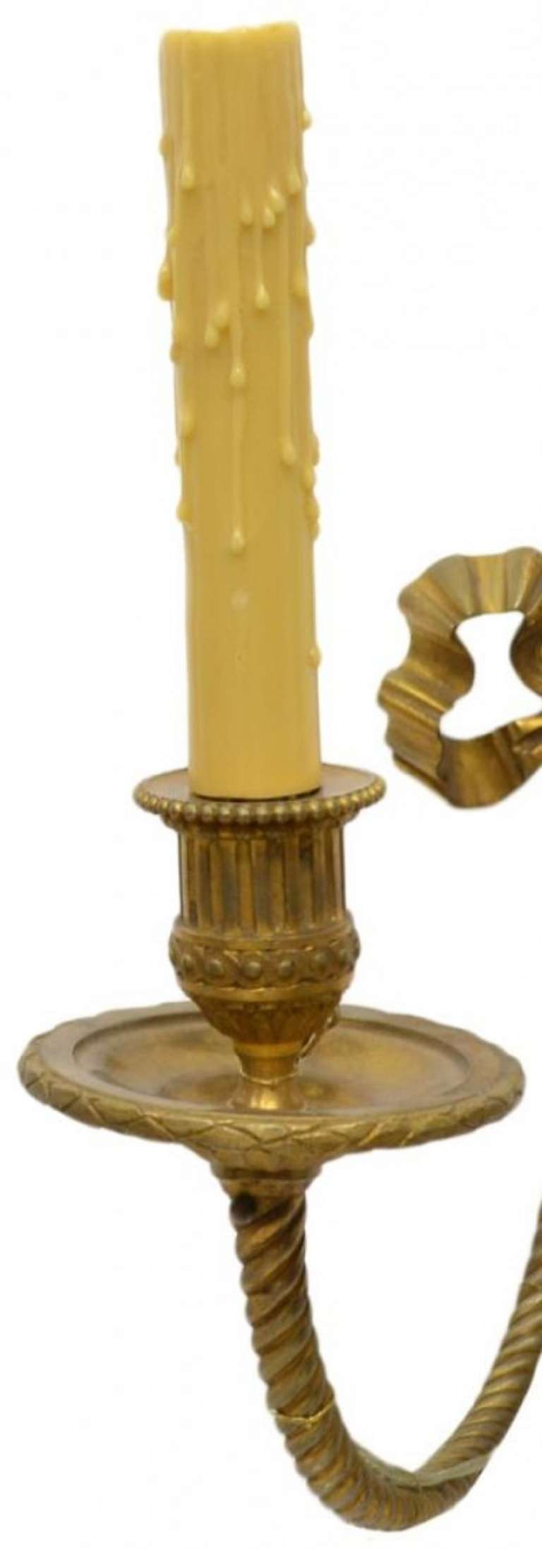 Late 19th Century Set of Six Louis XVI Style Gilt Bronze Two Light Wall Sconces at 1stdibs