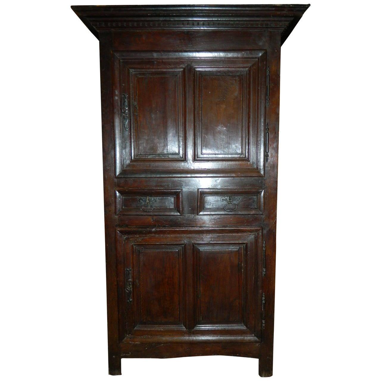 French Oak Cabinet or Bonnetiere, 18th Century