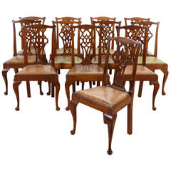 Set of Twelve George III Carved Mahogany Dining Chairs, Early 18th Century