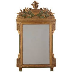 Continental Neoclassical Gilt, Green Painted Mirror, 19th Century