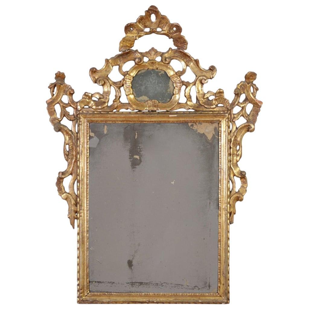Italian Rococo Giltwood Wall Mirror, 18th Century