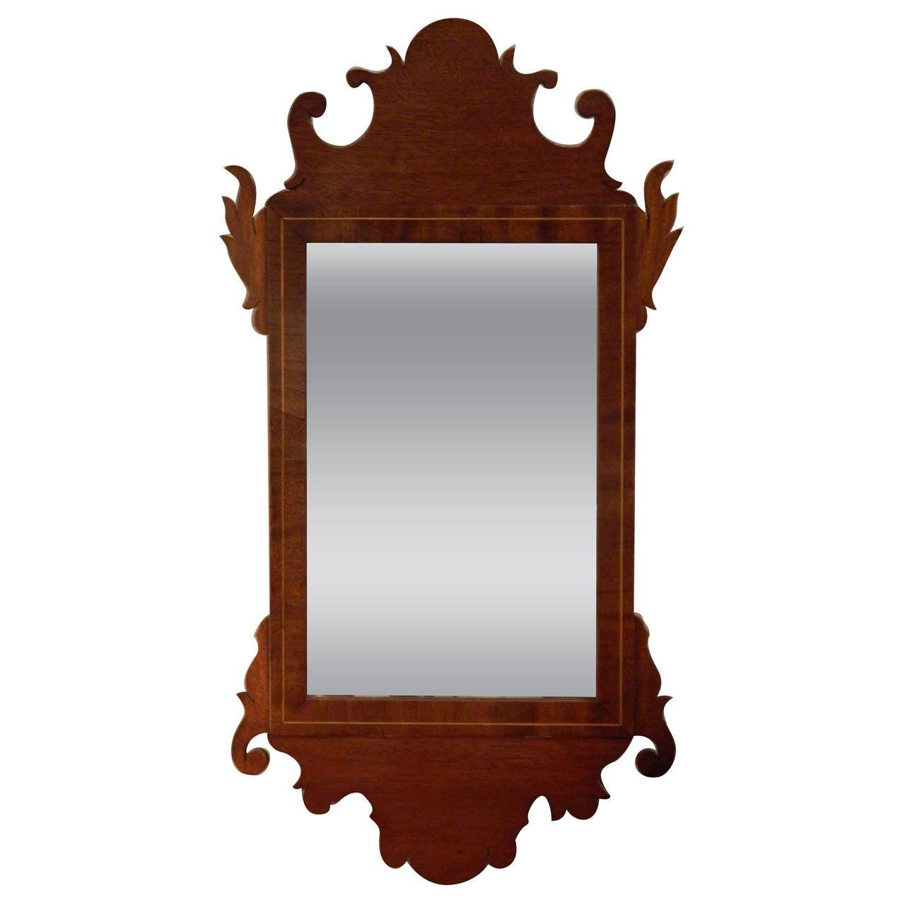 American Federal Inlaid Mahogany Looking Glass Mirror, Circa 1800