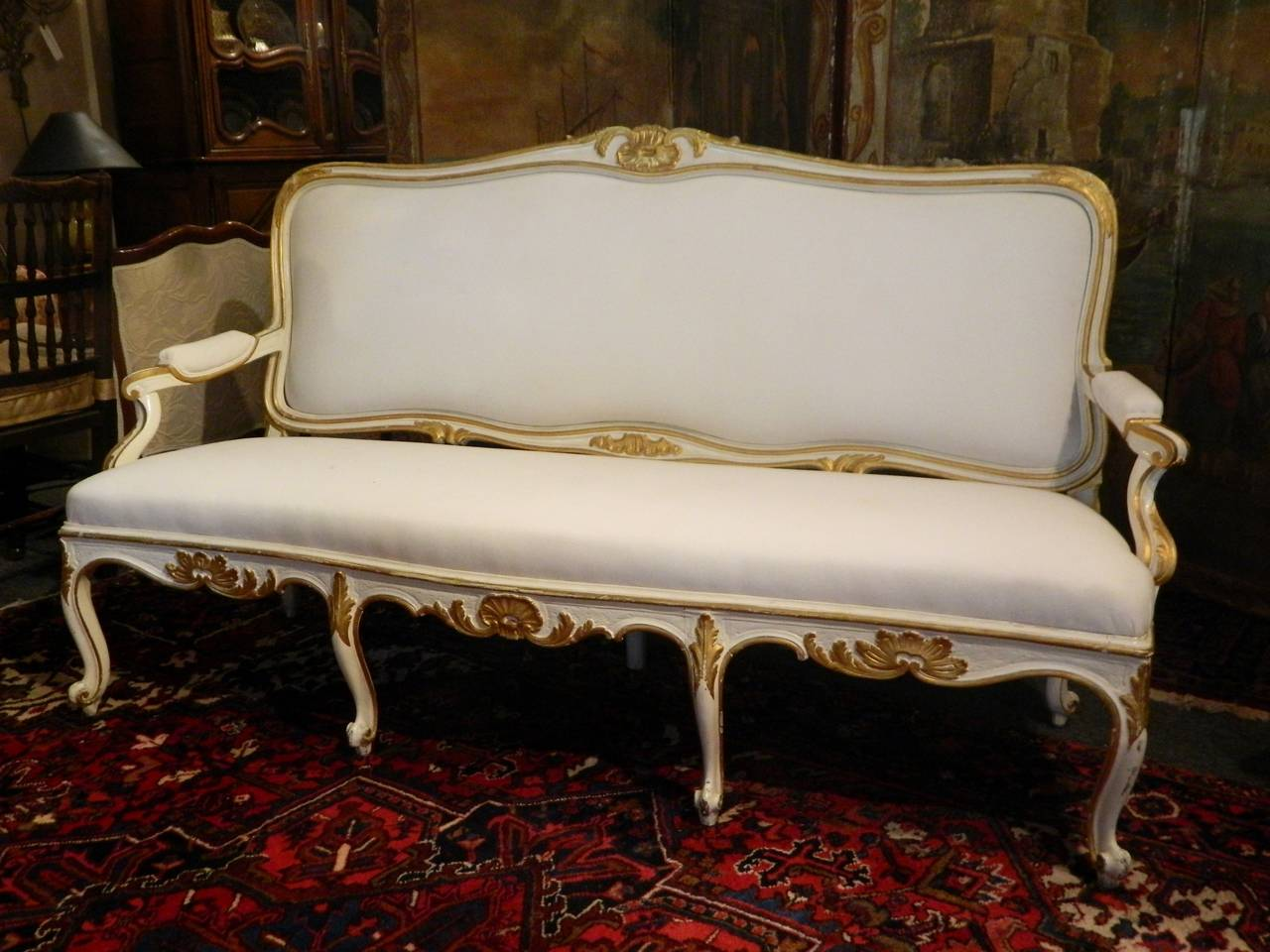 Swedish Gustavian Painted and Parcel Gilt Canape or Sofa, 19th Century For Sale