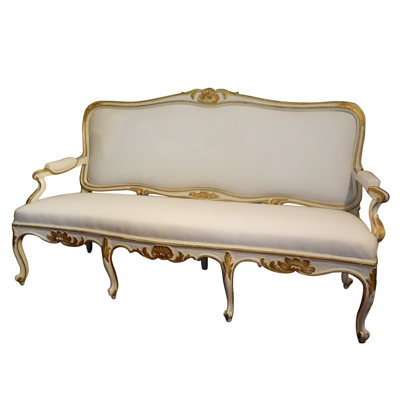 Gustavian Painted and Parcel Gilt Canape or Sofa, 19th Century