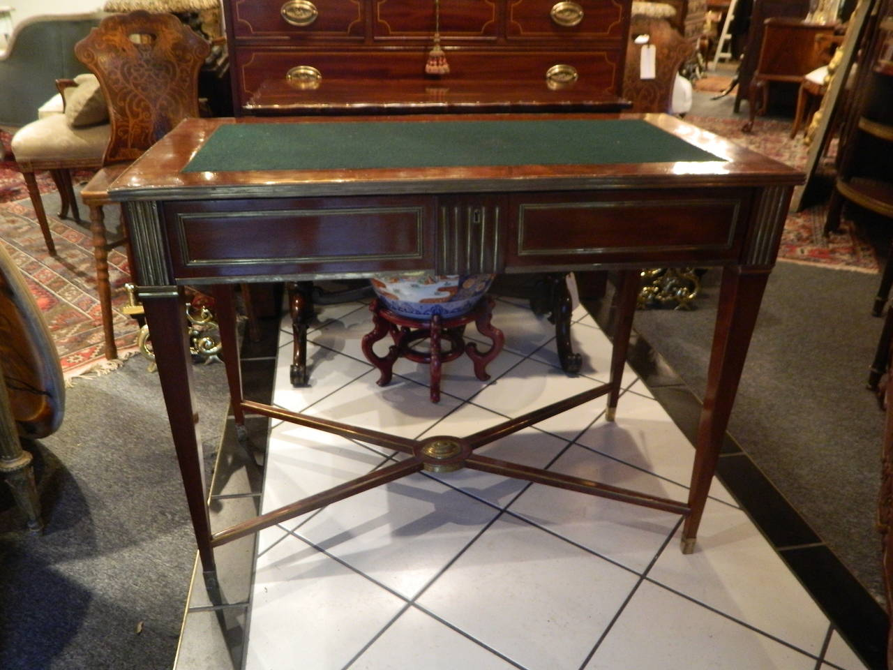 Russian Brass Mounted Mahogany Writing Table or Desk, 19th Century For Sale 5