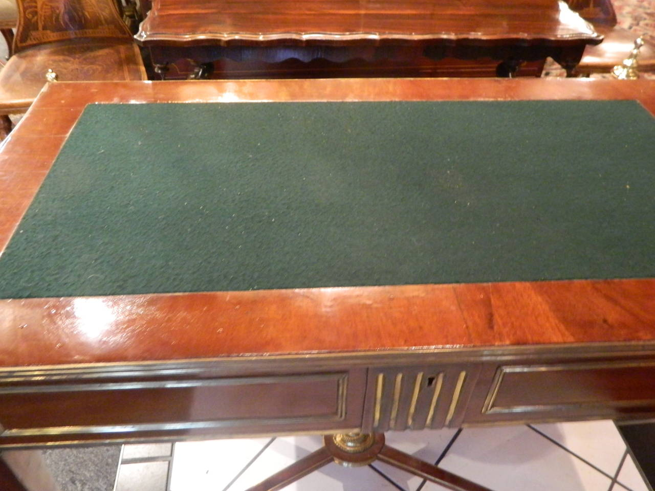 Russian Brass Mounted Mahogany Writing Table or Desk, 19th Century For Sale 4