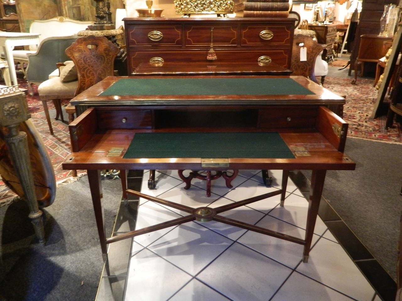 Russian Brass Mounted Mahogany Writing Table or Desk, 19th Century For Sale 3