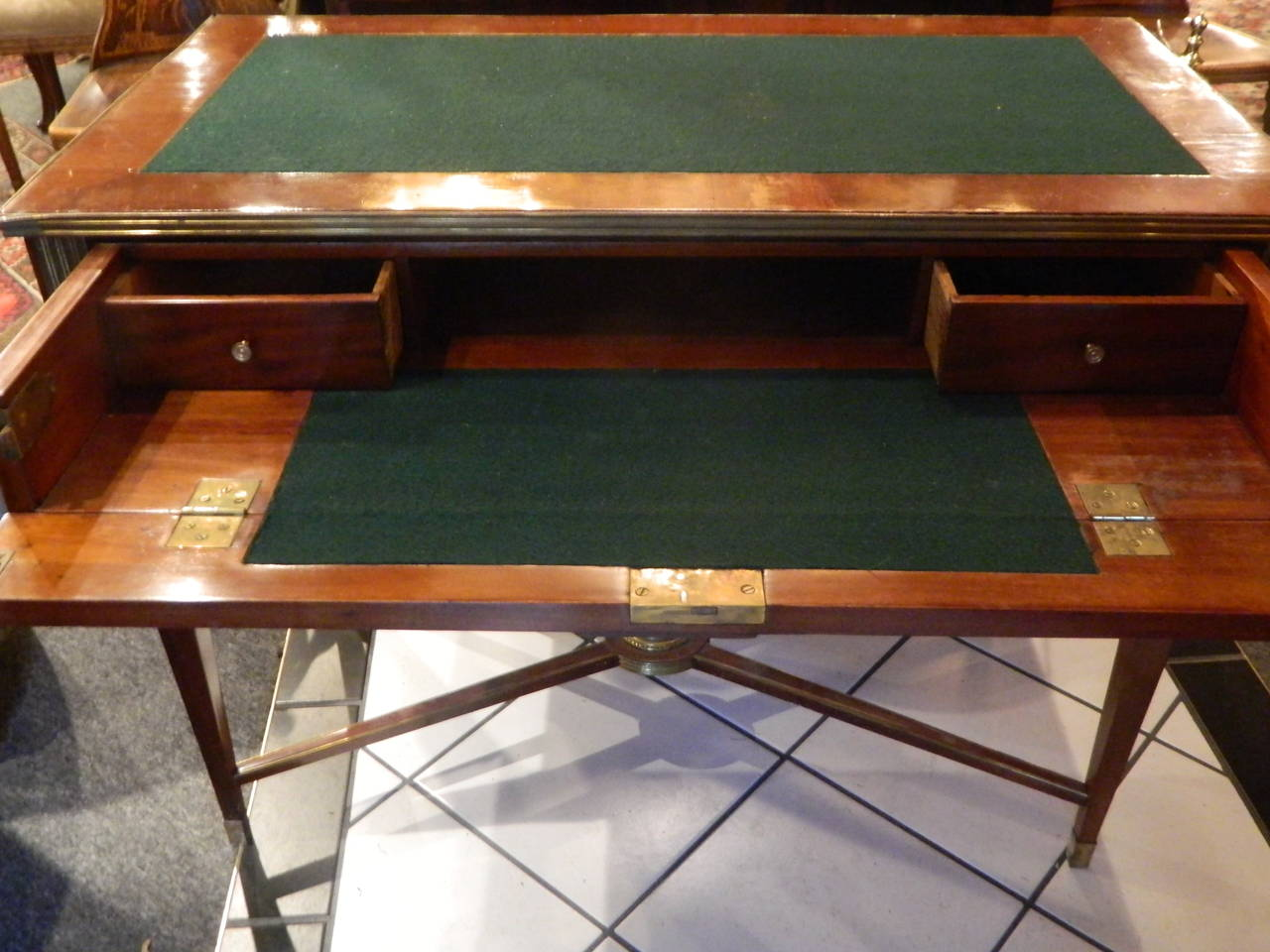Russian Brass Mounted Mahogany Writing Table or Desk, 19th Century For Sale 6