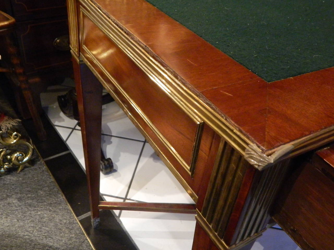 Russian Brass Mounted Mahogany Writing Table or Desk, 19th Century For Sale 7