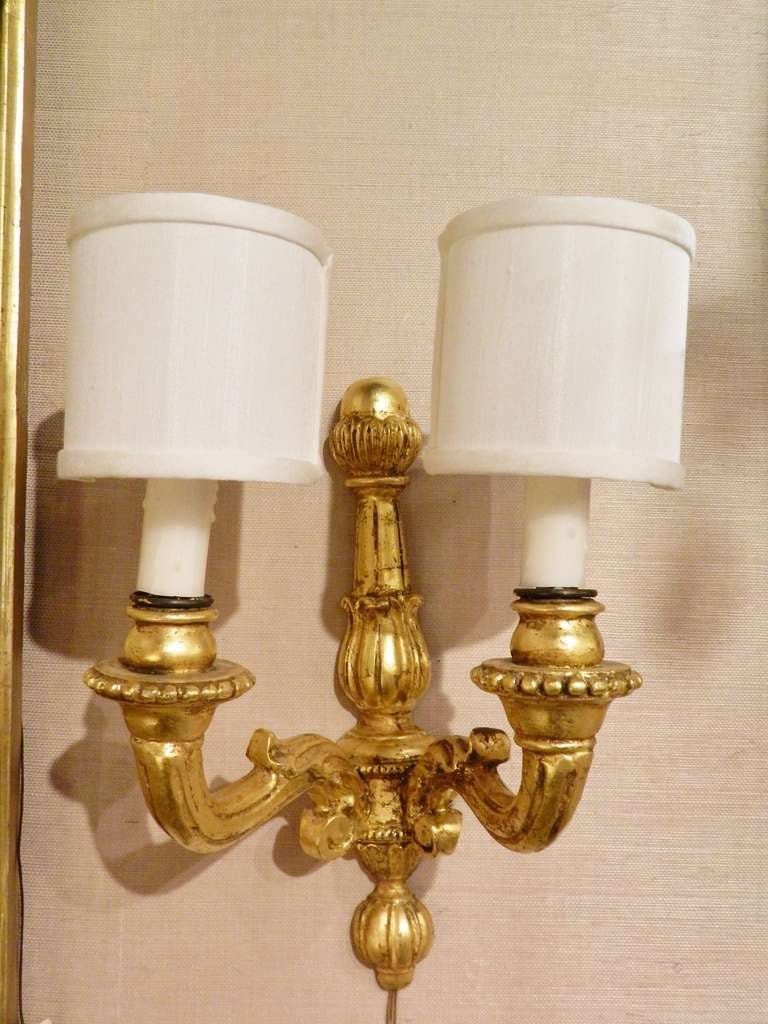 Pair of italian gold leaf wood wall sconces 20th century for sale pair of italian gold leaf wood wall sconces 20th century 2 amipublicfo Images