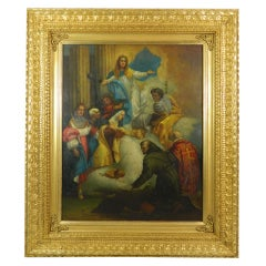 """Framed Oil on Copper Religious Painting """"The Ascension of Mary"""", 19th Century"""