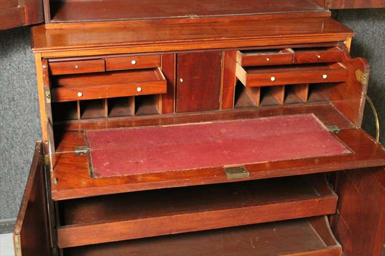 American Federal Inlaid Mahogany Bookcase Secretary, 19th Century For Sale 6