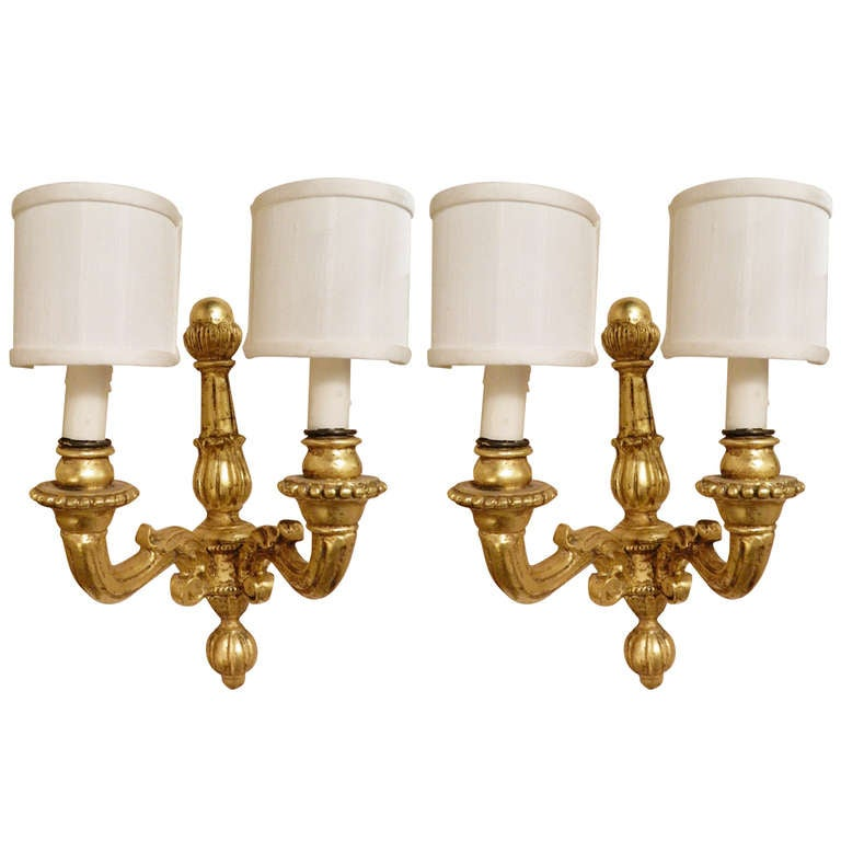 Wall Sconces Wood : Pair of Italian Gold Leaf Wood Wall Sconces, 20th Century For Sale at 1stdibs