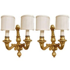 Pair of Italian Gold Leaf Wood Wall Sconces, 20th Century