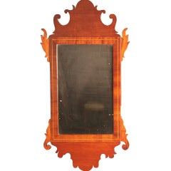 American Federal Inlaid Mahogany Looking Glass Mirror, circa 1800