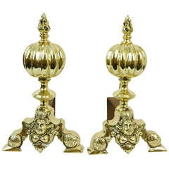 Pair of Chenets or Andirons with a Ball and Flame Finial, 19th Century