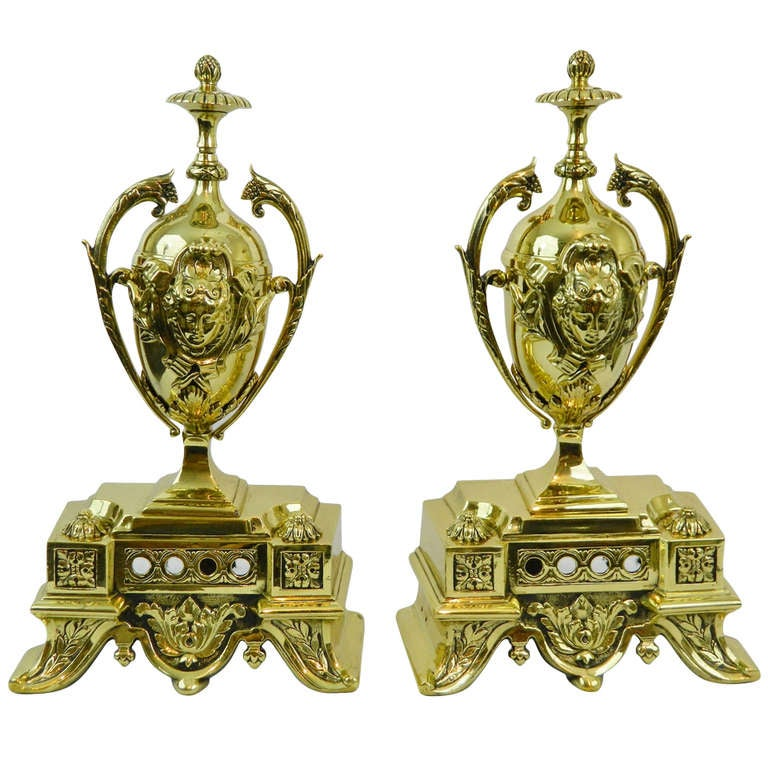 Pair of Chenets or Andirons with an Adjustable Center Bar, 19th Century