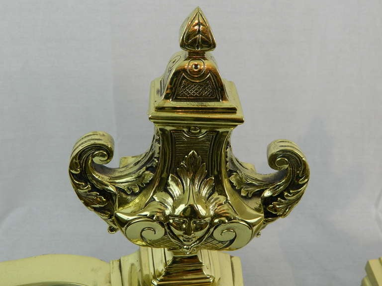 French 19th Century Pair of Brass Chenets or Andirons with Urn Decorations For Sale