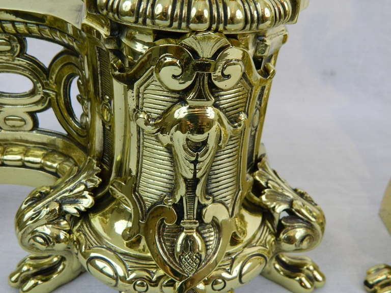 19th Century Pair of Brass Chenets or Andirons with Urn Decorations For Sale 1