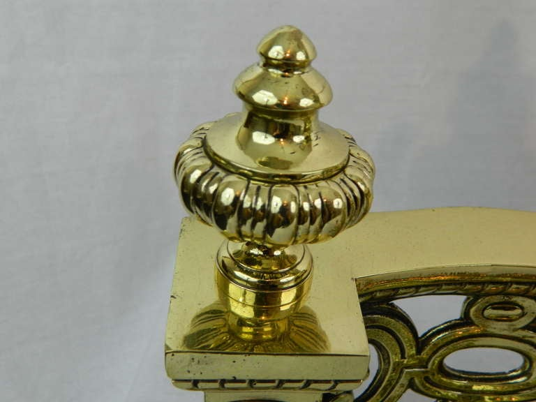 19th Century Pair of Brass Chenets or Andirons with Urn Decorations For Sale 4