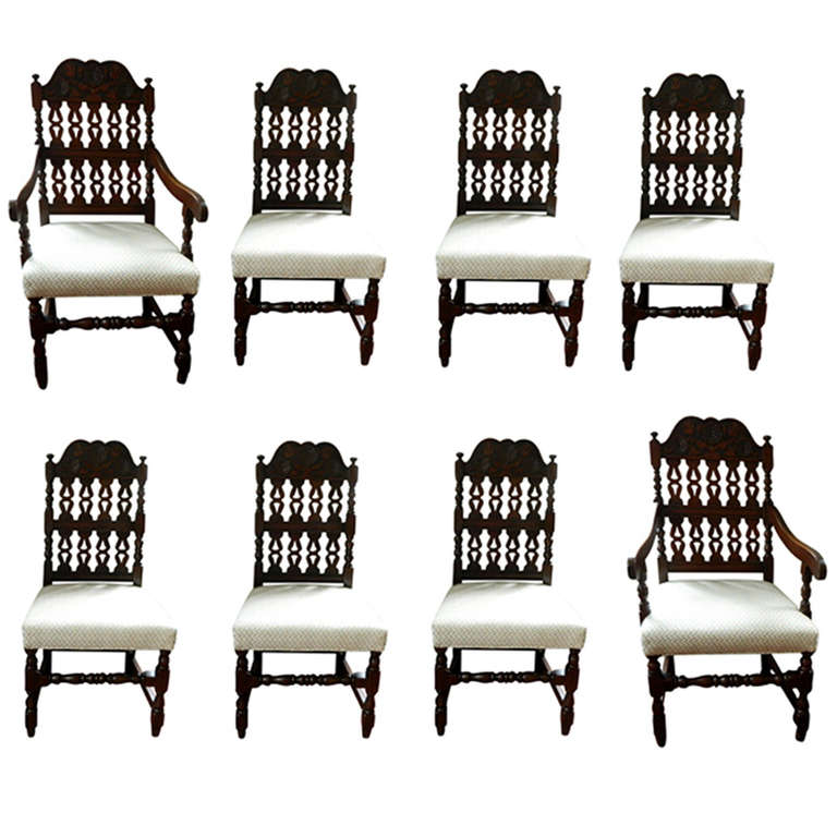 Early 20th Century Set of Eight Dining Chairs
