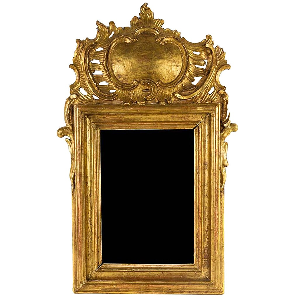 Louis XV Style Giltwood Mirror with a Foliate Scroll Crest, 20th Century