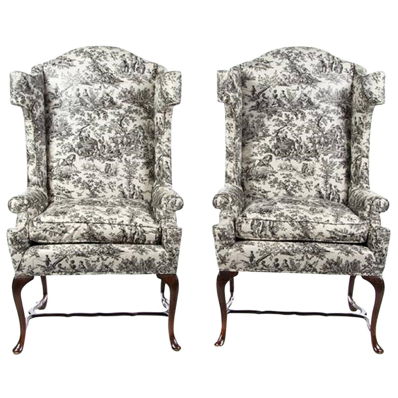 Pair of George III Style Wingback Armchairs, Early 20th Century