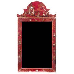 Georgian Style Red Lacquered Chinoiserie Mirror, Early 20th Century