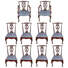 Fabulous Set of Ten Mahogany Dining Chairs