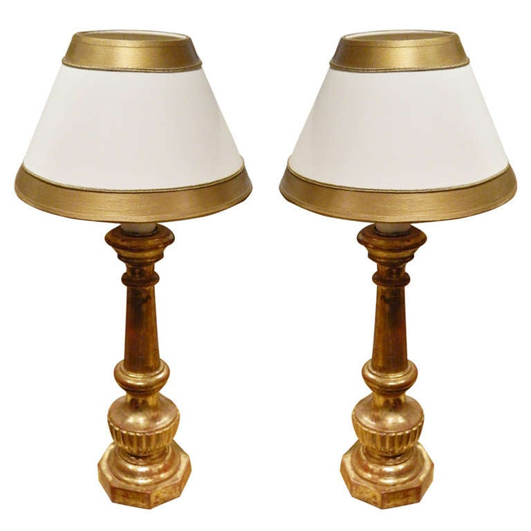 Pair of Gold Gilded Italian Prickets Adapted as Lamps, 19th Century