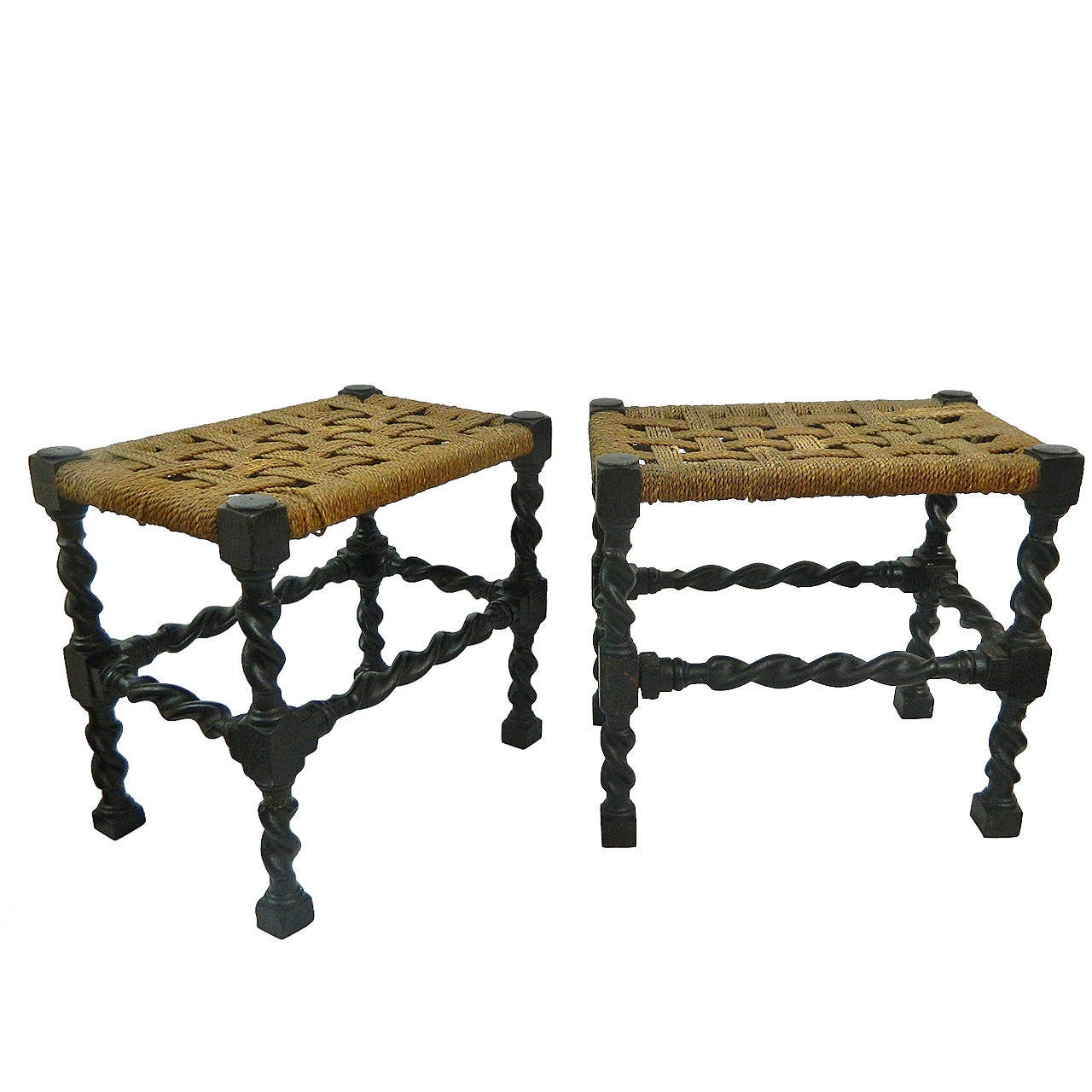 Pair of English Oak Barley Twist Stools with Rope Seats, 19th Century