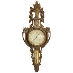 Louis XVI Style Giltwood Wall Barometer, 19th Century