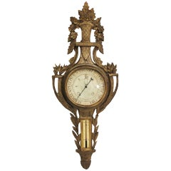 Louis XVI Style Giltwood Wall Barometer, 19th Century