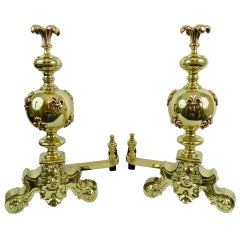 Pair of Chenets or Andirons with a Fleur-de-Lys Motif Finials, 19th Century