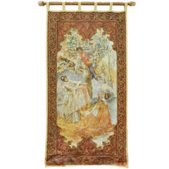19th Century French Tapestry Depicting a Boy and Two Girls Picking Up Cherries