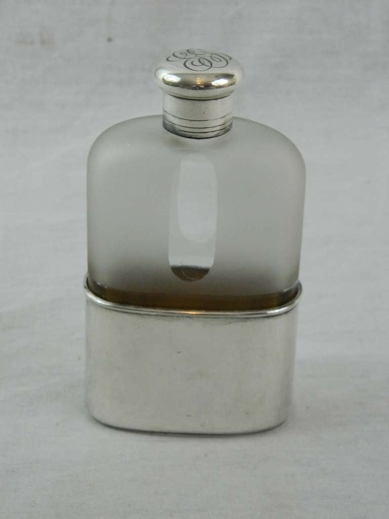 19th Century Sterling Silver and Crystal Flask by Tiffany & Co 3