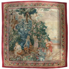"""Aubusson Style Tapestry """"Adam, Eve, Cain & Abel Outside the Garden of Eden"""