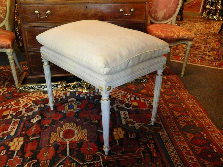 Wood Louis XVI Style French Painted Tall Stool with Gold Trim, Early 20th Century For Sale