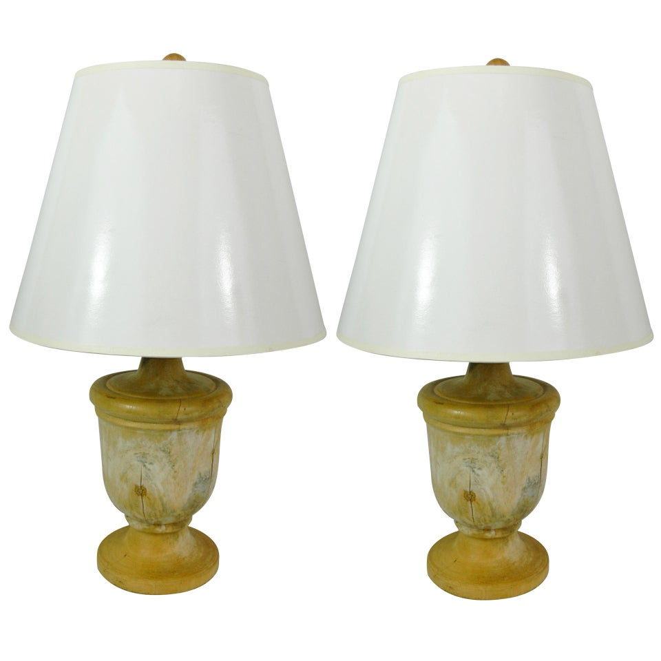 Pair of Capitol Fragments Adapted as Lamps, 19th Century