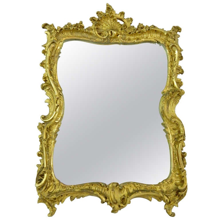 Louis XV Style Carved & Gilded Mirror with Carved Shell and Scroll, 19th Century