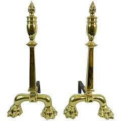 Pair of Tall Chenets or Andirons with Paw Feet and Flame Finials, 19th Century