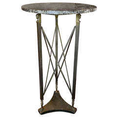 20th Century Empire Style Bronze Marble Top Figural Stand or Pedestal Table