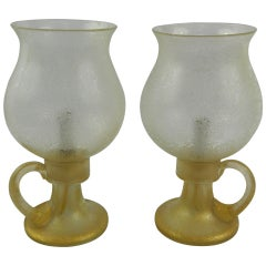 Pair of Circa 1940's Murano Glass Candle Holder Style Lamps with Globes