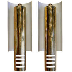 Circa 1950's Pair of French Art Deco Cylinder with Curved Backplate Sconces