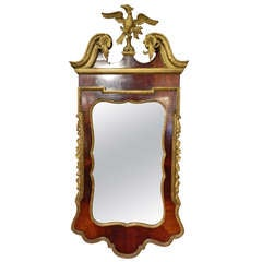 George II-Style Mahogany and Parcel Gilt Mirror with a Gilt Phoenix Finial